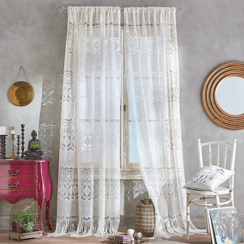 Boho Lace Sheer Poletop Single Curtain Panel