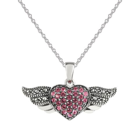 """MARC Sterling Pink Crystal & Marcasite Heart with Wings Pendant 18"""""""
