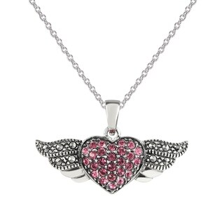 """MARC SS Pink Crystal & Marcasite Heart with Wings Pendant in 18"""" chain"""