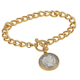 American Coin Treasures Silver Barber Dime Goldtone Coin Toggle Bracelet