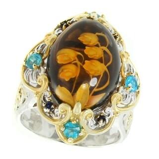 Michael Valitutti Palladium Silver Amber, Apatite & Blue Sapphire Ring