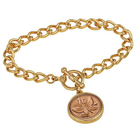 American Coin Treasures Butterfly Coin Goldtone Toggle Bracelet