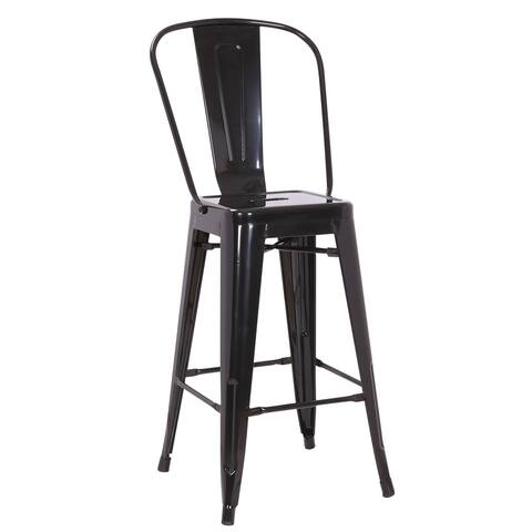 Farmhouse Gloss Metal Dining Room Kitchen Barstool Set of 2