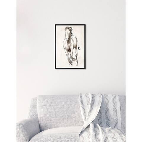 Oliver Gal 'Horse Sketch II' Domestic Animals Framed Art Print