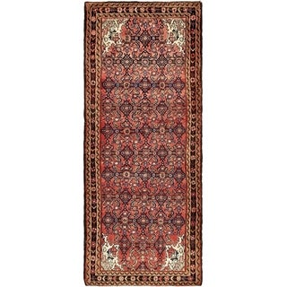 Hand Knotted Hossainabad Wool Runner Rug - 4' x 9' 5