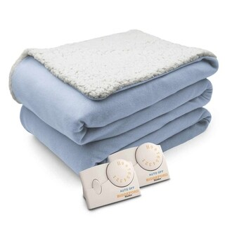 Biddeford Comfort Knit Natural Sherpa Electric Heated Blanket Queen Parade Blue