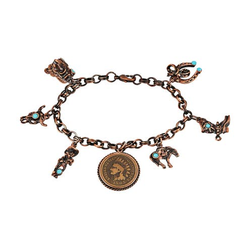 American Coin Treasures Indian Cent Western Charm Bracelet