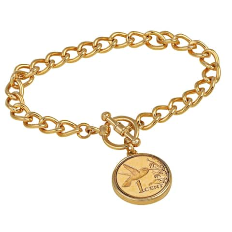 American Coin Treasures 24KT Gold Plated Hummingbird Coin Goldtone Toggle Bracelet
