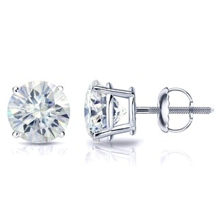 Platinum 4ct TGW Round Moissanite Stud Earrings by Auriya - 4.00ct