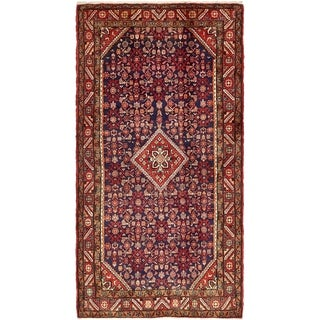 Hand Knotted Hossainabad Semi Antique Wool Area Rug - 5' 4 x 10'