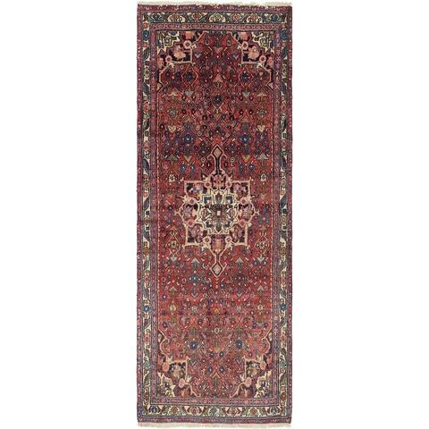 Hand Knotted Hossainabad Semi Antique Wool Runner Rug - 3' 4 x 9' 5