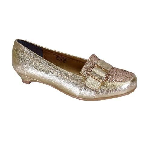 FLORAL Elin Women Extra Wide Width Elegant Kitten Heel Dress Loafers