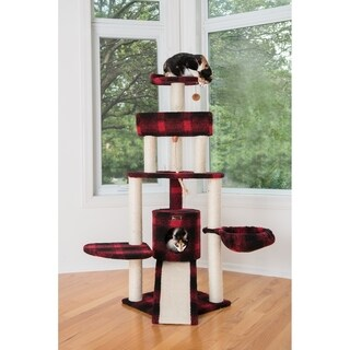 "Armarkat 58"" Cat Tree Model B5806, Black & Red Tartan Plaid"