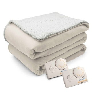 Biddeford Comfort Knit Natural Sherpa Electric Heated Blanket King Natural