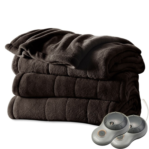 shop sunbeam heated electric blanket channeled microplush. Black Bedroom Furniture Sets. Home Design Ideas