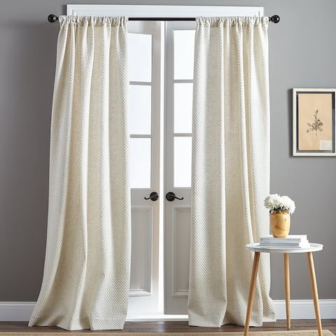 Positano Textured Natural Poletop Single Curtain Panel