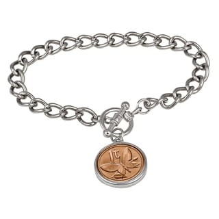 American Coin Treasures Butterfly Coin Silvertone Toggle Bracelet