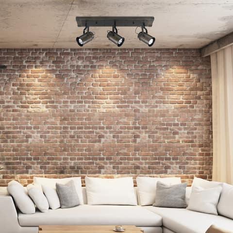Carbon Loft Fallon 3-light Dark Wood Finish Track Lighting, Bulbs Included
