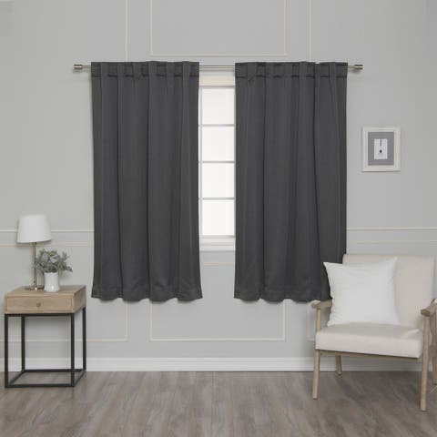 Aurora Home Rod Pocket Heather Blackout Curtain Panel Pair