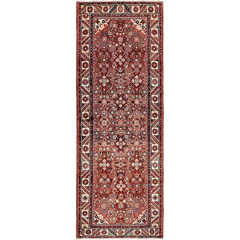 Hand Knotted Hossainabad Wool Runner Rug - 3' 4 x 9' 4