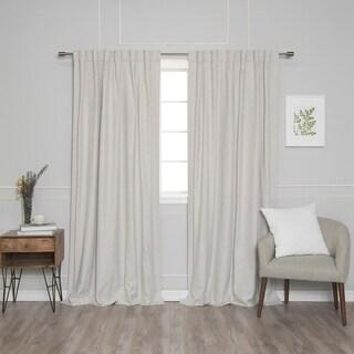 Aurora Home Rod Pocket Linen Texture 100% Blackout Curtain Panel Pair
