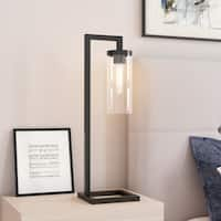 Malva Table Lamp in Blackened Bronze with Seeded Glass Shade