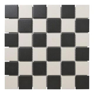 London Square Unglazed Porcelain Mosaic Tile Chessboard (Case of 10 sheets / 10.3 sq. ft.)