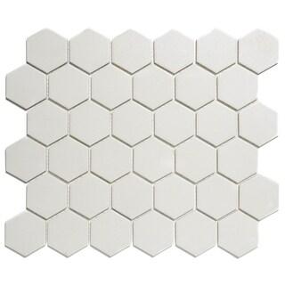London Hexagon Unglazed Porcelain Mosaic Tile White (Case of 10 sheets / 10 sq. ft.)