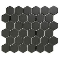 London Hexagon Unglazed Porcelain Mosaic Tile Dark Gray (Case of 10 sheets / 10 sq. ft.)