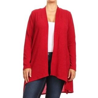 Women's Basic Solid Knit Plus Size Draped Sweater Cardigan