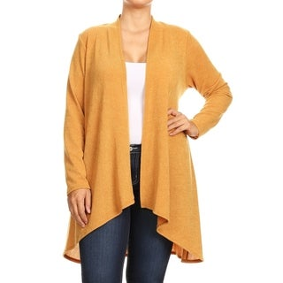 Women's Basic Solid Knit Plus Size Draped Sweater Cardigan