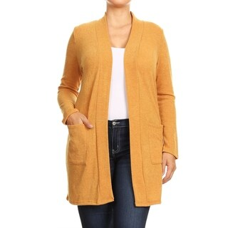 Women's Casual Basic Solid Knit Plus Size Cardigan Sweater