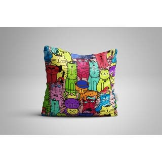 """Oyo Reversible Decorative Pillows - Cushion & Insert 17""""x17"""" Home Décor Throw Pillow For Bedding Porch Sofa Couch - Cats"""