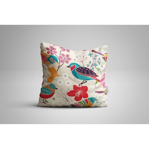 "Oyo Reversible Decorative Pillows - Cushion & Insert 17""x17"" Home Décor Throw Pillow For Bedding Porch Sofa Couch - Birds"