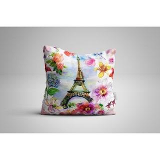 "Oyo Reversible Decorative Pillows - Cushion & Insert 17""x17"" Home Décor Throw Pillow For Bedding Porch Sofa Couch - Eiffel Paris"