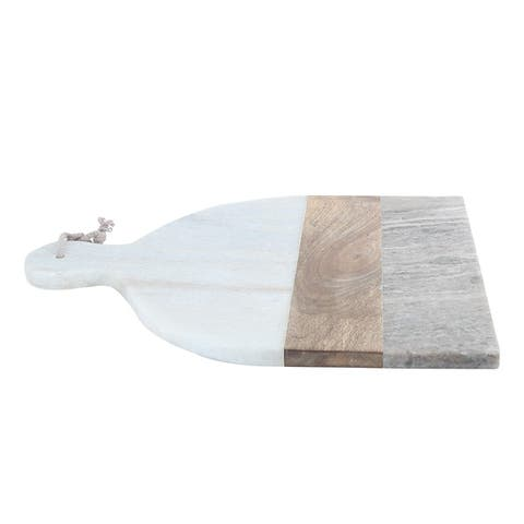 White and Beige Marble Stone with Acacia Wood Chopping board.