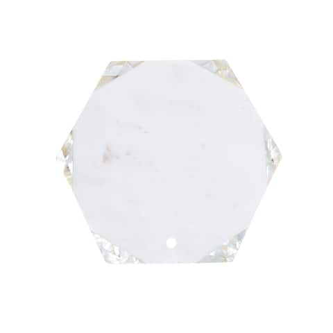 White Marble Stone Hexagonal Shape Chopping Board with MOP Inlay.