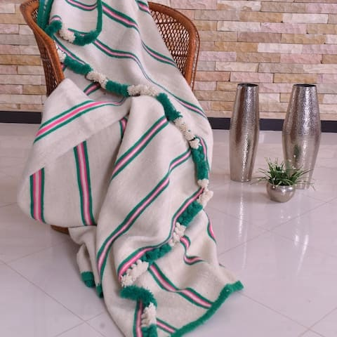 Hand-woven Wool Pom Pom Blanket Off-White with Pink & Green Stripes