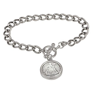 American Coin Treasures Silver Seated Liberty Dime Silvertone Coin Toggle Bracelet