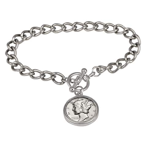 American Coin Treasures Silver Mercury Dime Silvertone Coin Toggle Bracelet