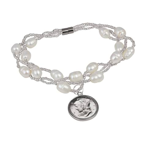 American Coin Treasures White Cultured Freshwater Pearl Mercury Dime Coin Bracelet