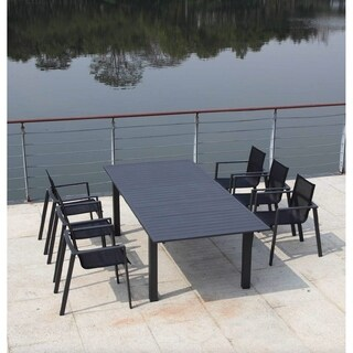 Alum Grey Aluminum Contemporary Outdoor Dining Table
