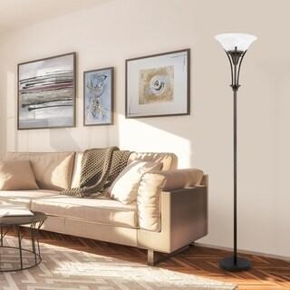"""Gatineau 71"""" Dark Bronze Floor Lamp with Alabaster Glass Shade"""