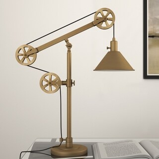 Descartes Industrial Farmhouse Table Lamp in Brass with Pulley System