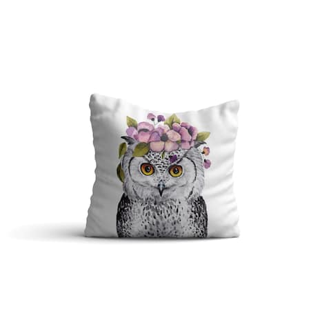"""Oyo Reversible Decorative Pillows - Cushion & Insert 17""""x17"""" Washable Home Décor Throw Pillow For Bedding Porch Sofa Couch - Owl"""