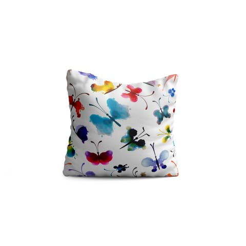 "Oyo Reversible Decorative Pillows - Cushion & Insert 17""x17"" Home Décor Throw Pillow For Bedding Porch Sofa Couch - Butterfly"