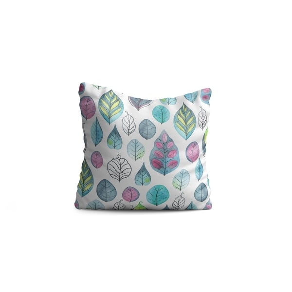 """Oyo Reversible Decorative Pillows - Cushion & Insert 17""""x17"""" Home Décor Throw Pillow For Bedding Porch Sofa Couch - Leaves"""