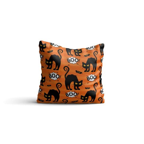 """Reversible Decorative Pillows - Cushion & Insert 17""""x17"""" Home Décor Throw Pillow For Bedding Porch Sofa Couch - Halloween Cats"""