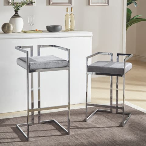 Silver Orchid Gordon Velvet Upholstered Chrome Finish Metal Barstools (Set of 2)