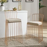 Silver Orchid Gordon Upholstered Gold Metal Barstool